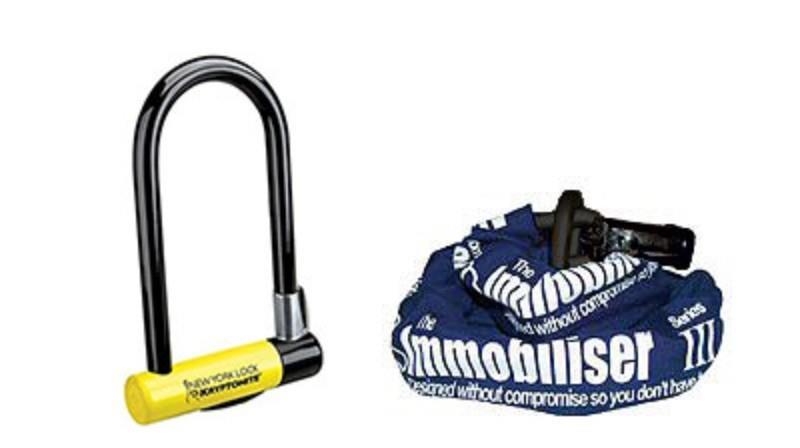 Kryptonite New York Lock Standard и Almax Immobiliser Series III chain