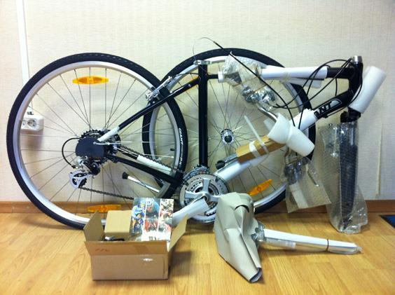 Разобранный горный велосипед