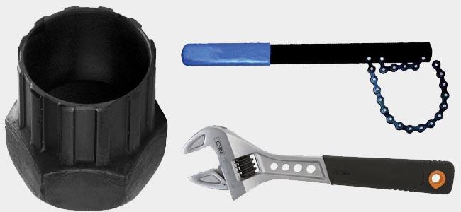 Съёмник кассеты, хлыст, разводной ключ