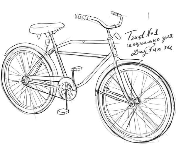 Как нарисовать велосипед карандашом поэтапно 5