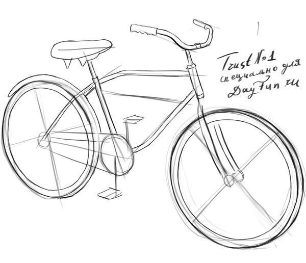 Как нарисовать велосипед карандашом поэтапно 3