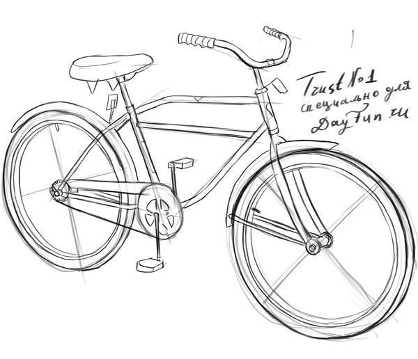 Как нарисовать велосипед карандашом поэтапно 4