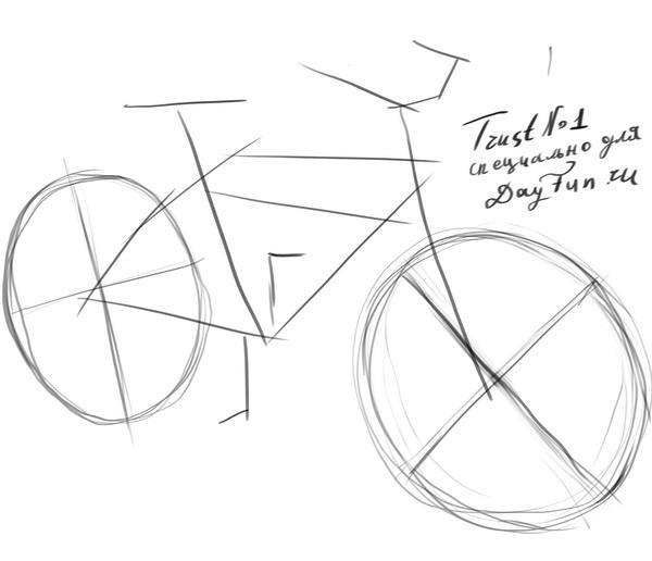 Как нарисовать велосипед карандашом поэтапно 1
