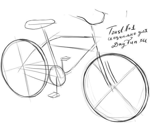 Как нарисовать велосипед карандашом поэтапно 2