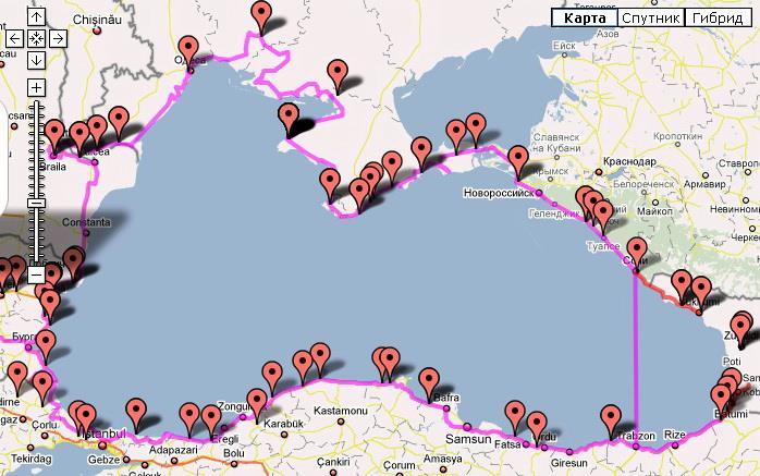 Маршрут Стоянова на велосипеде вокруг Чёрного моря