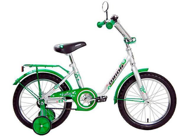 Детский двухколесный велосипед с дополнительными колесами Orion Flash