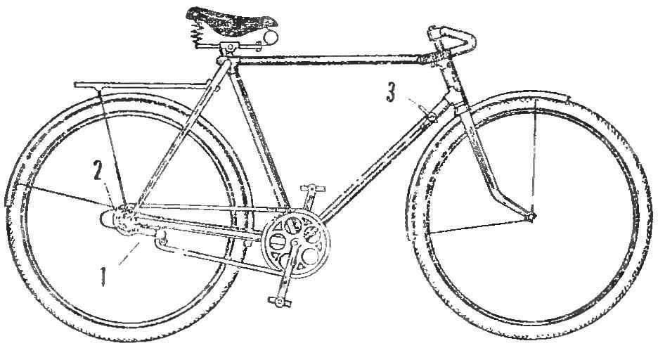 Общий вид велосипеда с установленным на нем переключателем скоростей