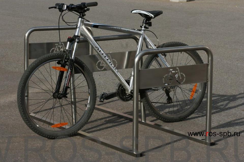 Велопарковки РОСЬ на 6 велосипедов из нержавейки www.ros-spb.ru