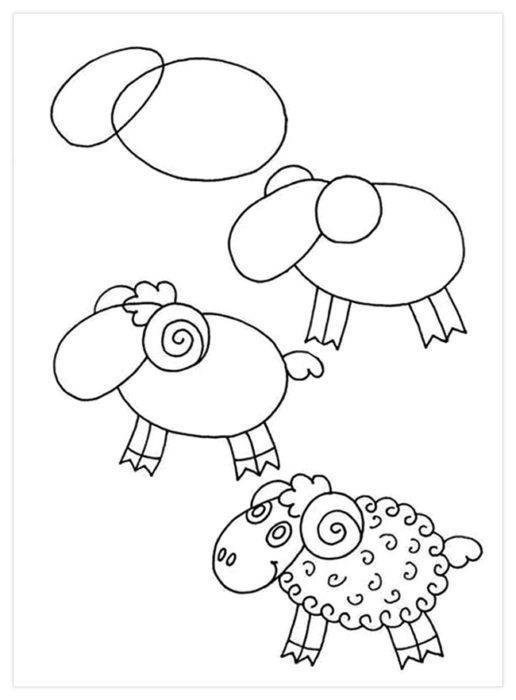 Как нарисовать поэтапно овечку карандашом