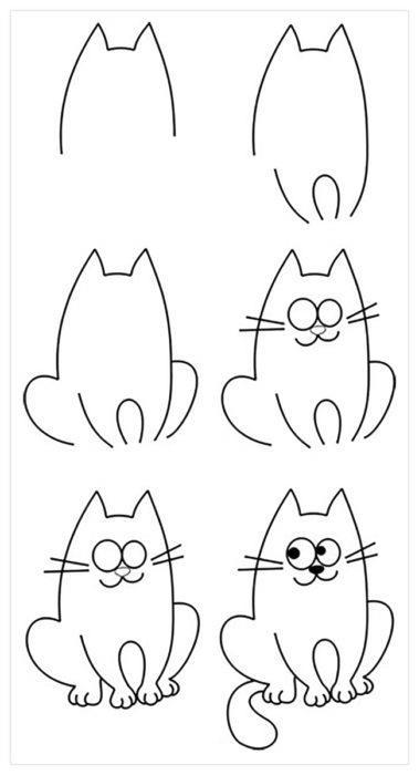 Как нарисовать поэтапно кота карандашом?