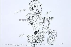 нарисовать пошагово мужчину на велосипеде карандашом, рисунок мужчины на велосипеде, контурный рисунок, черно-белый