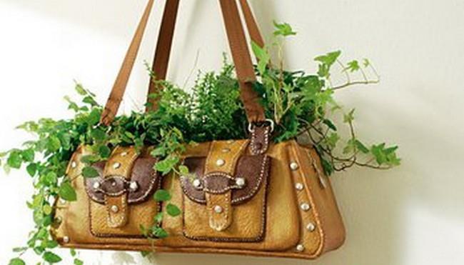 Клумба из старой женской сумки