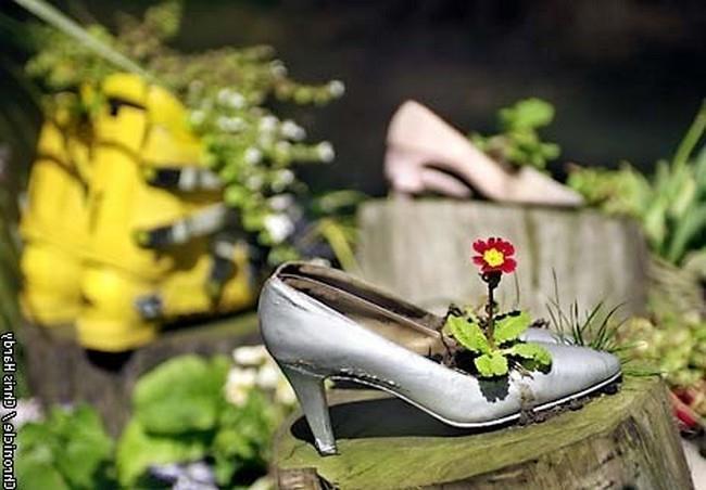 Миниатюрная клумба из женской обуви