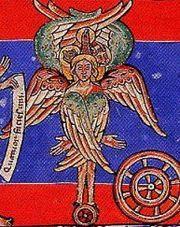 Средневековое изображение херувима по Видению пророка Иезекииля, 1156 г.