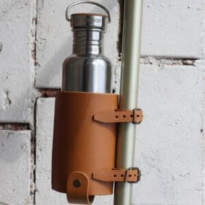 кожаный флягодержатель для бутылки на велосипед бриз