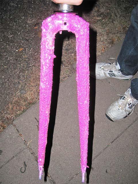 Удаление краски с велосипедной вилки