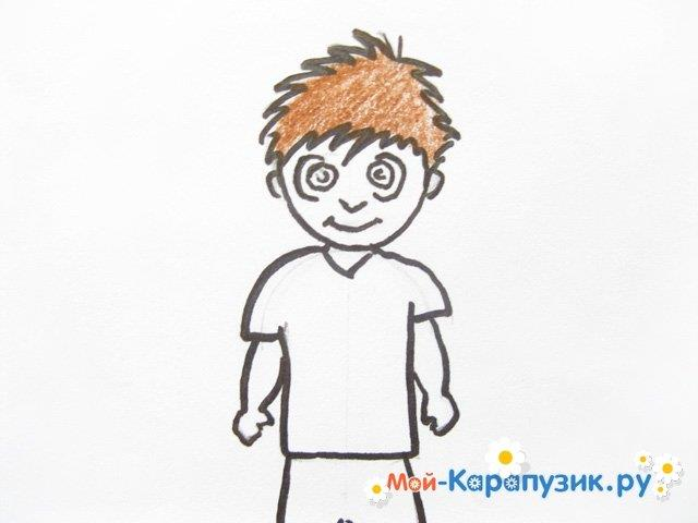 Поэтапное рисование мальчика цветными карандашами - фото 10