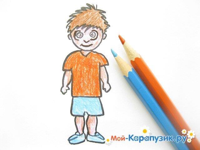 Поэтапное рисование мальчика цветными карандашами - фото 12