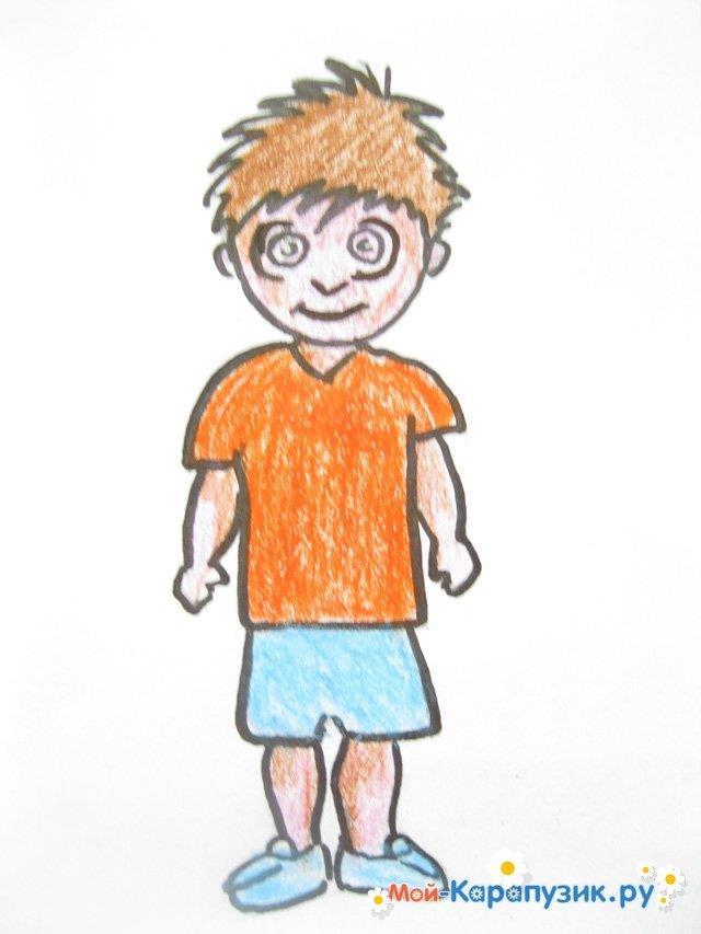 Поэтапное рисование мальчика цветными карандашами - фото 14