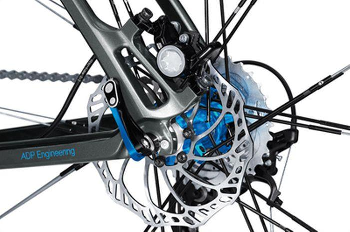 the beauty of a disk brake system mounted on a mountain bike