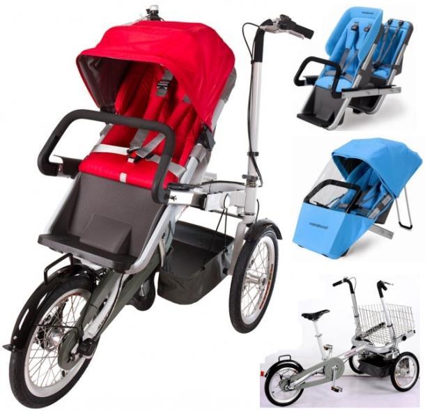 Испанская коляска-велосипед Vagabond может быть дополнена полезными аксессуарами: двойным детским сидением, тентом от дождя или корзиной для покупок