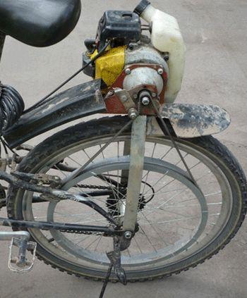 Мотор от бензопилы на велосипеде