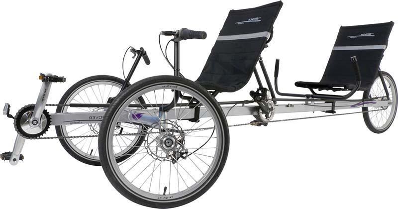 Лежачий трехколесный велосипед тандем