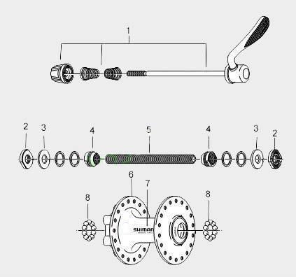 Устройство передней втулки велосипеда