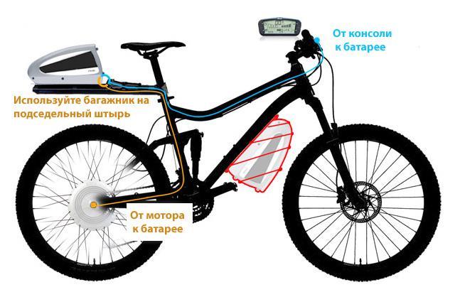 Установка комплекта BionX на двухподвесный горный велосипед