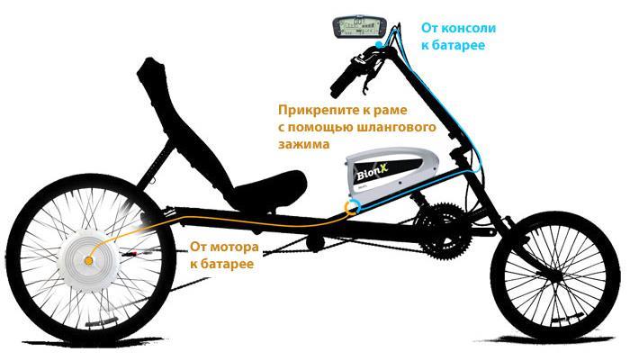 Установка комплекта BionX на раму лежачего велосипеда