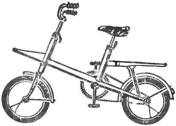 Рис. 1. Универсальный велосипед однобалочной схемы.