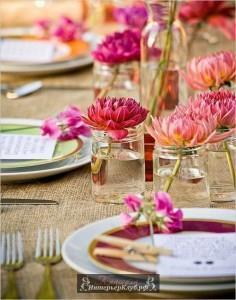 Украшение стола живыми цветами, украшение стола цветами фото (24)