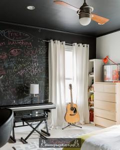20 Грифельная краска в интерьере спальни, грифельная стена в спальне, грифельная доска в спальне