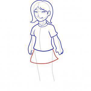 Шаг 8. Как нарисовать девочку карандашом