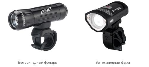 Велосипедный фонарь и велосипедная фара