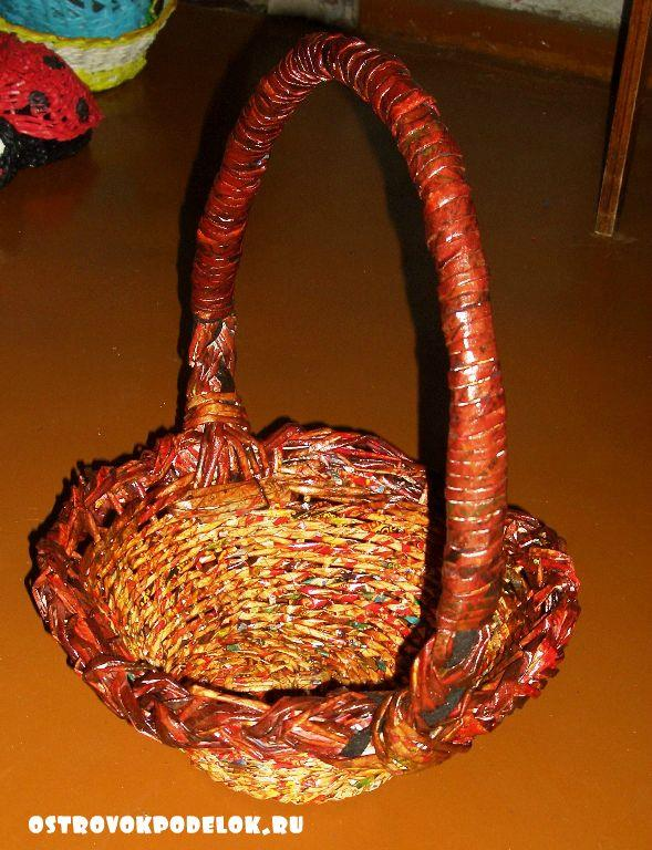 Мастер-класс по пошаговому плетению круглой корзины из газетных трубочек. ОСТРОВОК ПОДЕЛОК