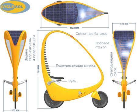 велосипед, работающий за счёт энергии солнца