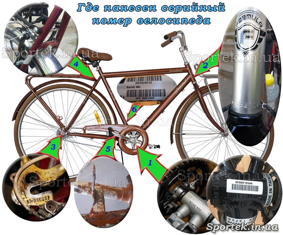 Где на раме велосипеда найти серийный номер