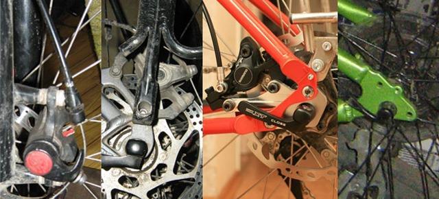 Слева направо - Крепление PM (правда, на вилке), крепление IS вне треугольника (обратите внимание на положение машинки и багажника) и внутри треугольника (попробуйте оценить, как будет загибаться рубашка или гидролиния неповоротные), крепление под адаптер