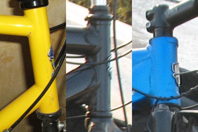 Слева направо - классический рулевой стакан, алюминиевый рулевой стакан под короткую вилку, алюминиевый рулевой стакан под современную вилку с полуинтегрированной рулевой