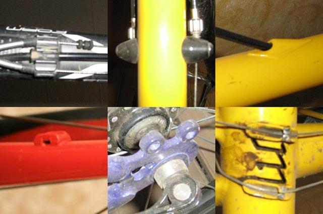 Разные варианты креплений - упоры под тросы/гильзы гидролинии, обычная площадка под стяжку, упоры для рубашек, установленные на крепления нарамных манеток, крепления под жесткие крылья, вход для внутренней проводки тормоза, площадки для нижней проводки тросиков