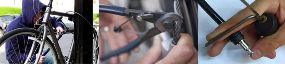 Как перекусывают трос велосипедного замка или вскрывают его отмычкой